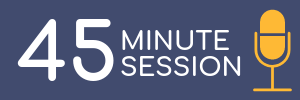 Blue rectangle with yellow microphone icon. Link to 45 minute session logistics.