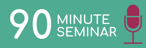 Turquoise rectangle with pink microphone icon. Link to 90 minute seminar logistics.