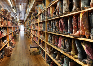 Shelves of boots at Allens Boots